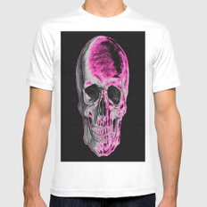 Pink Skull White MEDIUM Mens Fitted Tee