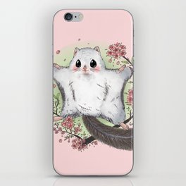 Flying Squirrel with cherry blosson iPhone Skin