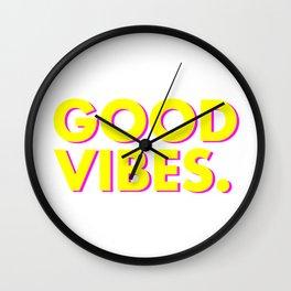 Good Vibes Bright Yellow Pink Wall Clock
