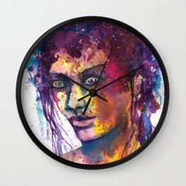 Women face watercolor prints Wall Clock