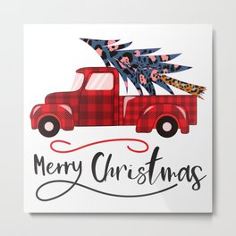 christmas red truck with tree,merry christmas Metal Print