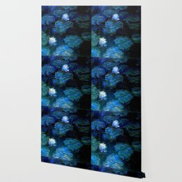 monet water lilies 1899 blue Teal Wallpaper