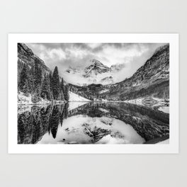 Maroon Bells Covered in Clouds - Black and White Art Print