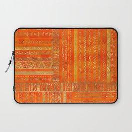 Tribal Ethnic pattern gold on bright orange Laptop Sleeve