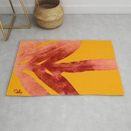 Green Fern on Red On Fire Rug