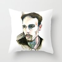 depression Throw Pillows featuring Portrait of Depression by ArtbyLumi