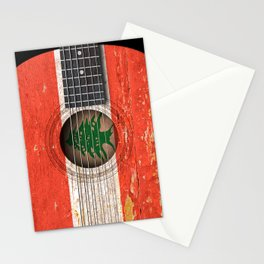 Old Vintage Acoustic Guitar with Lebanese Flag Stationery Cards