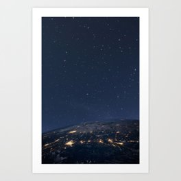 Planet earth from the space at night Art Print