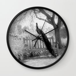 Bench Peacock Wall Clock