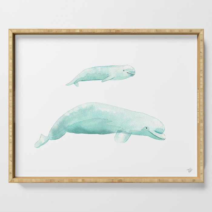 Beluga whale with baby Serving Tray