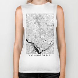 Washington Black and White Map Biker Tank