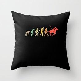 Vintage Horse Polo Evolution Polo Player Gift Idea Throw Pillow