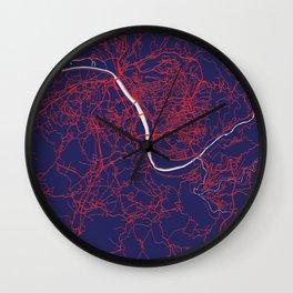 Coimbra, Portugal, Blue, White, City, Map Wall Clock