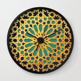 -A1_2- Golden Original Traditional Moroccan Artwork. Wall Clock
