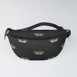 Black & Gold Crown Pattern Fanny Pack