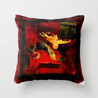 boxing Throw Pillows featuring Boxing Sagittarius by Genco Demirer