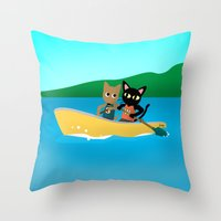 rowing Throw Pillows featuring Rowing by BATKEI