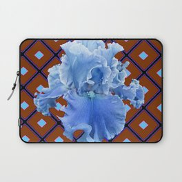 Chocolate Brown & Blue Iris Pattern Art Laptop Sleeve