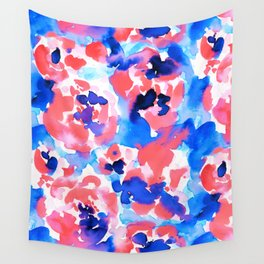 Abstract Flora Blue Wall Tapestry