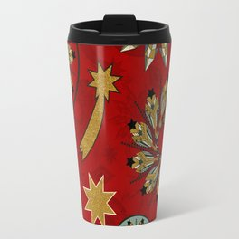 xmas golden red pattern Travel Mug