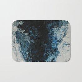 Blue Tornado, abstract acrylic fluid painting Bath Mat