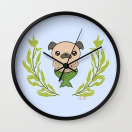 Norfolk Merdogs Merpug Mermaid Pug Wall Clock