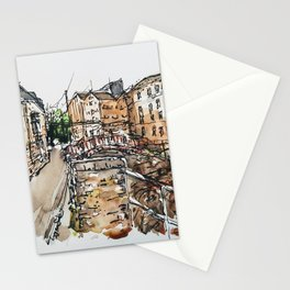 The Old Mill at Tewkesbury painting by Lynn Ede  Stationery Cards