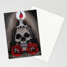 Voodoo Skull and Roses with candle Stationery Cards