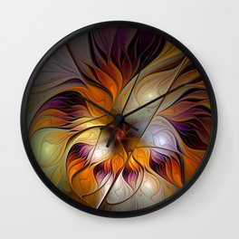 Autumn Flower, Colorful Abstract Fractal Art Wall Clock