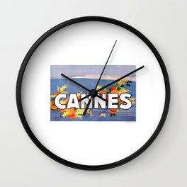France 1930 Cannes French Riviera Travel Poster Wall Clock