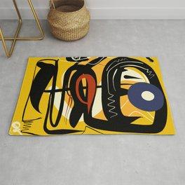 Street Art Yellow African Graffiti Rug