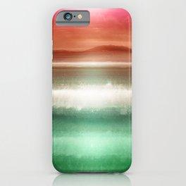 """Rose Orange Sky over Teal Emerald South Sea"" iPhone Case"
