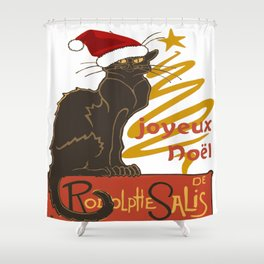 Joyeux Noel Le Chat Noir With Stylized Golden Tree Shower Curtain