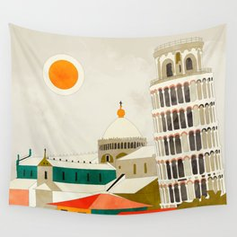 travel europe Italy shapes pisa tower Wall Tapestry