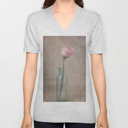 Pink Rose with French Script Unisex V-Neck