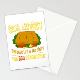 Sub Artist Delicious Sub Sandwich Maker Funny Gift Stationery Cards