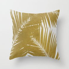 Palm Leaf Gold III Throw Pillow