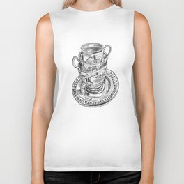 Stacked Tea Cups Biker Tank