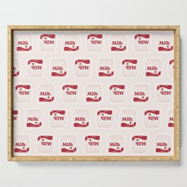 Milk Carton # pattern pink strawberry Serving Tray