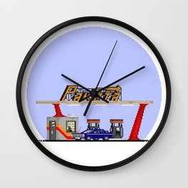 Pixel Gas Station Wall Clock