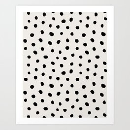 Modern Polka Dots Black on Light Gray Art Print