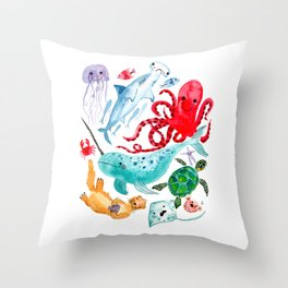 Ocean Creatures - Sea Animals Characters - Watercolor Throw Pillow