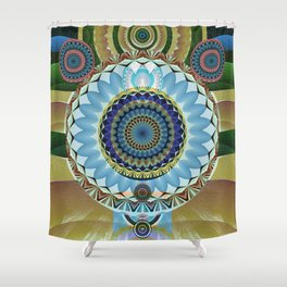 Gentle Grounding Earthling Mandala Landscape Shower Curtain