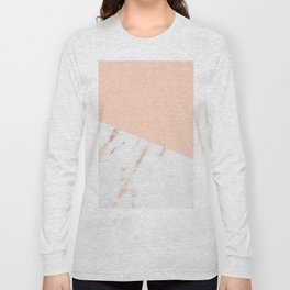 Pink Quartz and White Marble Rose Gold Long Sleeve T-shirt