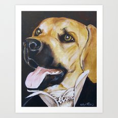 Mans Best Friend - Dog in Suit Art Print