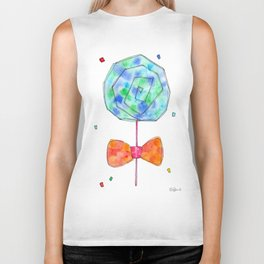 Color Your Life candy illustration sweets pattern food sky blue orange kitchen watercolor painting Biker Tank