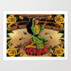 Tattoo Taurus Art Print