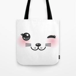 Kawaii funny cat with pink cheeks and winking eyes on white background Tote Bag