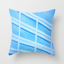 Blue Building - Watercolor, Tapeart Throw Pillow