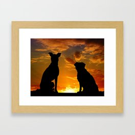 TWO DOGS AT SUNSET Framed Art Print